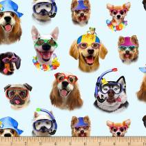 Elizabeth's Studio Beach Selfies Dogs Allover Blue Fabric by The Yard,