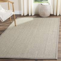 Safavieh Natural Fiber Collection NF475A Sisal & Wool Area Rug, 3' x 5', Grey