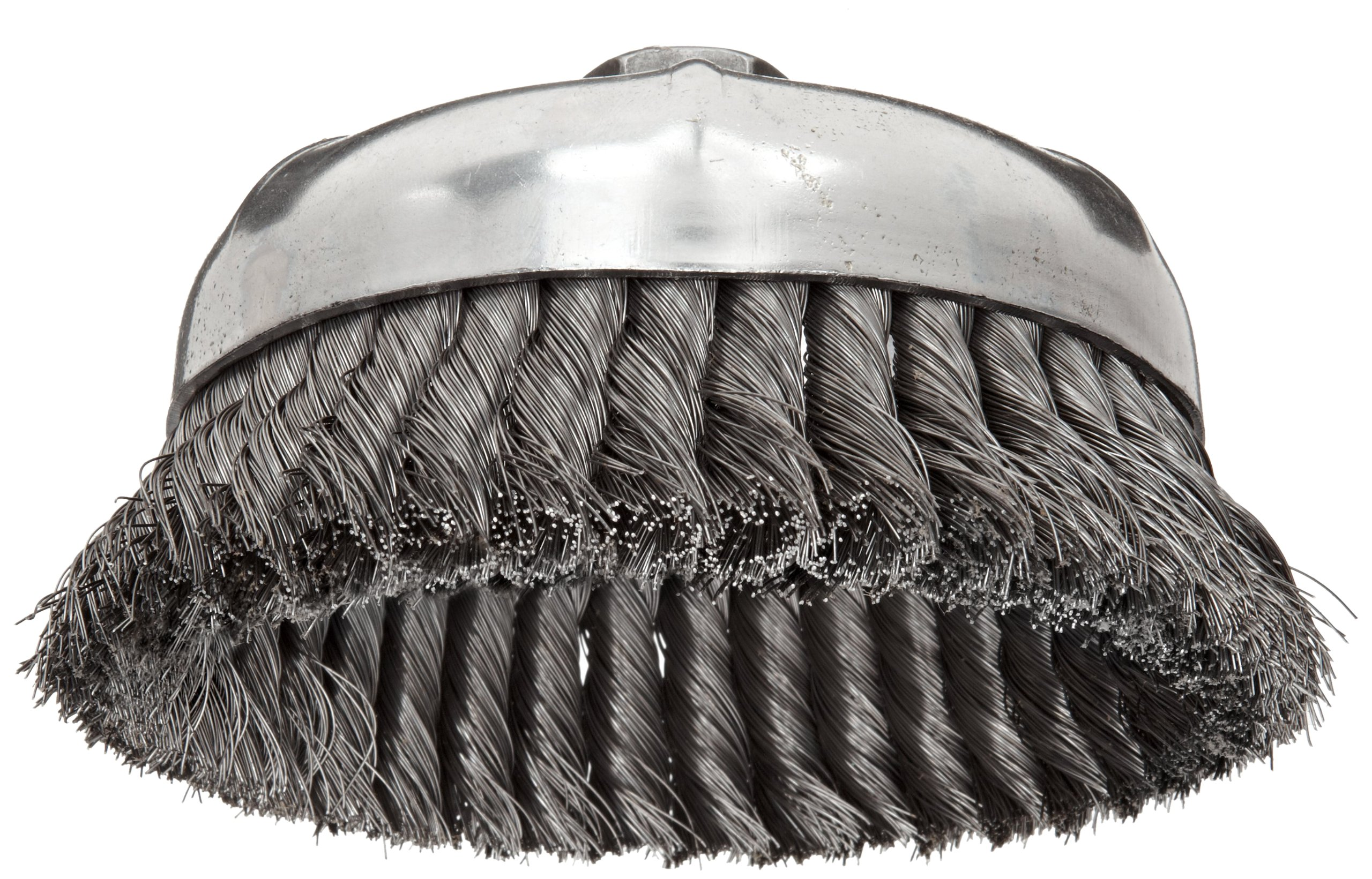 "Weiler 12356 Wire Cup Brush, Threaded Hole, Steel, Partial Twist Knotted, Single Row, 6"" Diameter, 0.014"" Wire Diameter, 5/8""-11 Arbor, 1-3/8"" Bristle Length, 6600 rpm"