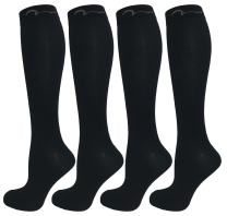 4 Pair All Black Small/Medium Extra Soft Compression Socks for Women and Men, Moderate/Medium Graduated Compression 15-20 mmHg. Therapeutic, Occupational, Travel & Flight Knee-High Socks. Black S/M