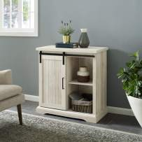 Walker Edison Furniture Modern Farmhouse Buffet Entryway Bar Cabinet Storage, 32 Inch, White Oak