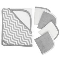American Baby Company Hooded Terry Cloth Towel and 4 Piece Organic Cotton Washcloth Set, Grey Zigzag, for Boys and Girls