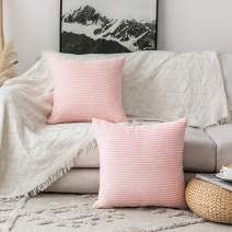"Home Brilliant Large Pillow Covers Euro Sham Super Soft Striped Velvet Couch Throw Pillow Covers, 24"" x 24"" (60cm), Set of 2, Pastel Pink"