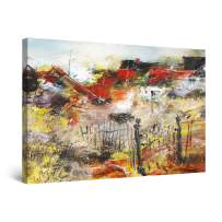 "Startonight Canvas Wall Art Abstract Colored Rural Landscape Large Painting Framed 32"" x 48"""