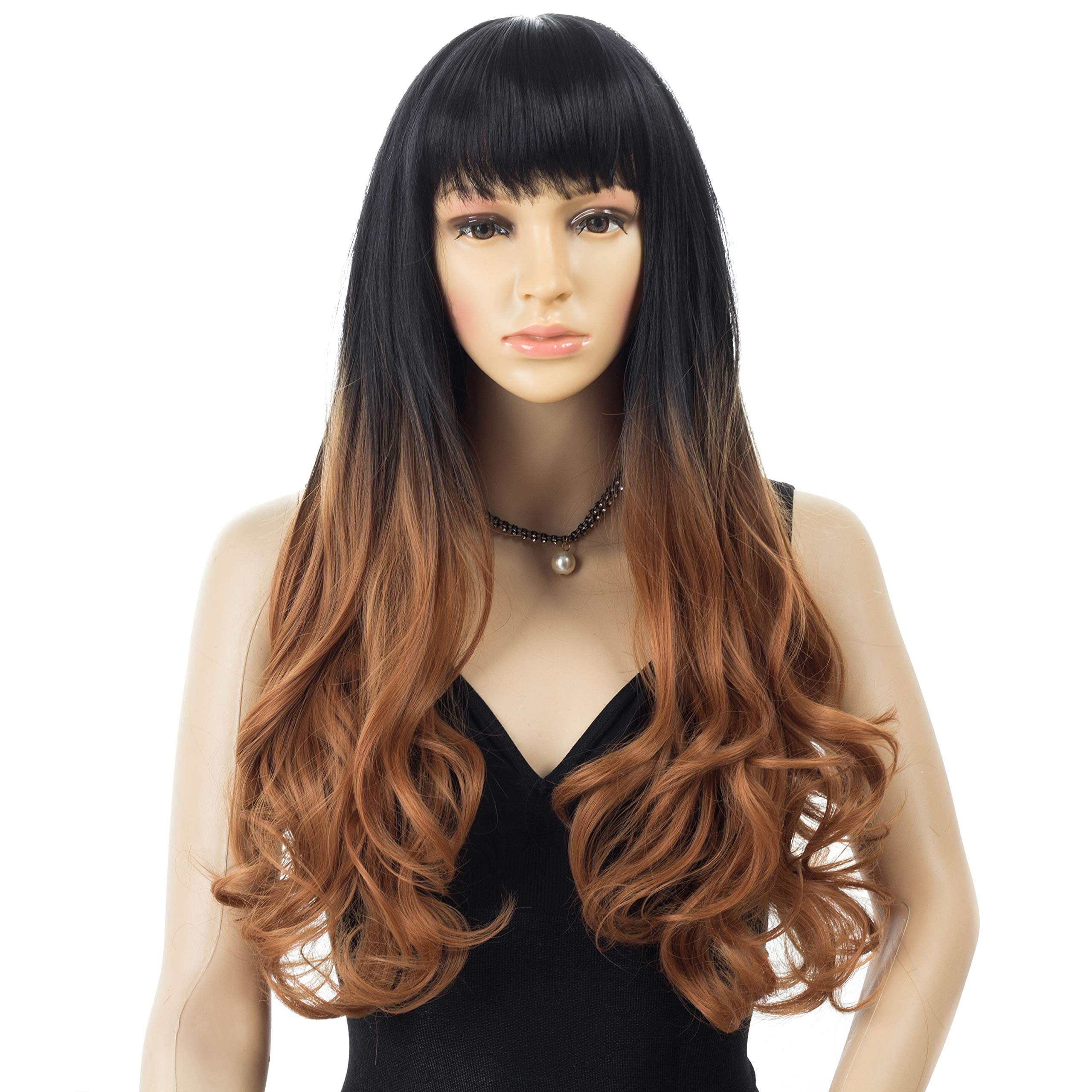 HRClever 22INCH Long Curly Wavy Wigs, Ombre Brown Wigs for Women With Bangs,Hair Piece Natural as Real,Two Tone Dark Root to Brown,Hair Replacement Wigs, Daily Party Cosplay Costume Wigs(