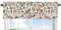 Sweet Jojo Designs Vintage Floral Boho Window Treatment Valance - Blush Pink, Yellow, Green and White Shabby Chic Rose Flower Farmhouse