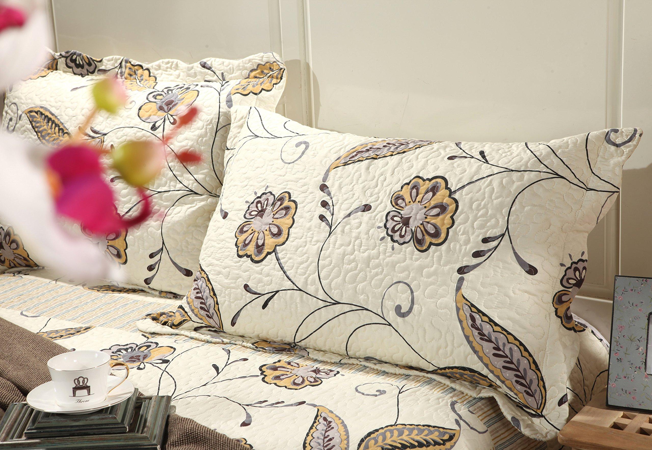 Tache 3 Piece Floral Seasons Eve Reversible Bedspread Quilt Set, Queen/Full
