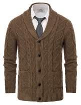 PAUL JONES Men's Knitted Cardigan SweatersShawl Lapel Cable Aran Button Sweater