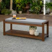 Walker Edison Furniture Company 2 Person Outdoor Patio Wood Bench with Washable Cushions All Weather Backyard Conversation Garden Poolside Balcony, 48 Inch, Grey