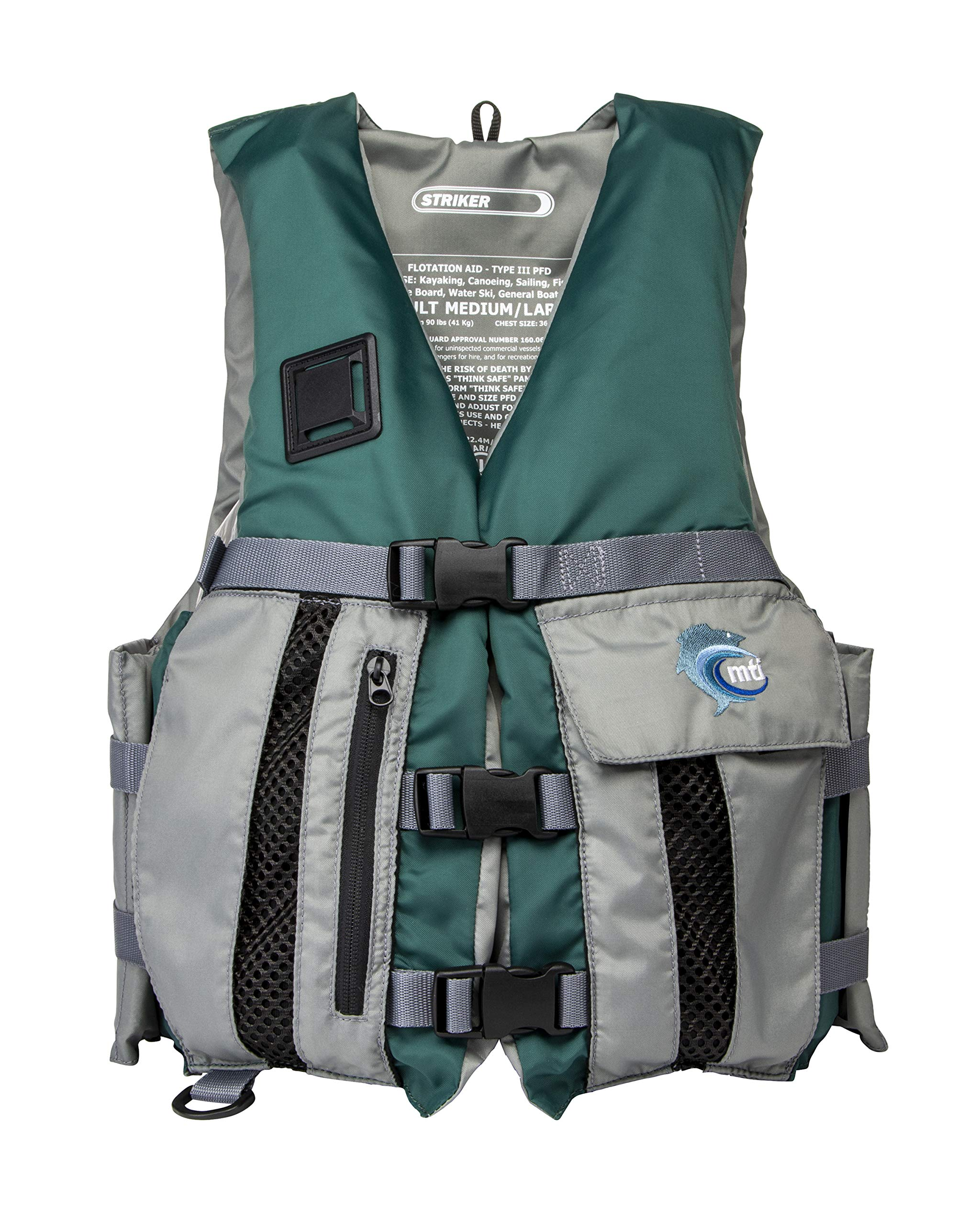 MTI Striker Fishing Life Jacket - Hunter Green/Silver Gray - MD/LG (36-44'')
