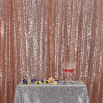 Eternal Beauty Champagne Blush Sequin Wedding Backdrop Photography Background Party Curtain, 10Ft X 10Ft