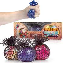 Sparkly Mesh Stress Balls 3-Pack - Squishy Balls with Water Beads and Glitter - Colorful Anti-Stress Squeeze Grape Balls for Kids and Adults - Relieve Anxiety and Calming - Sensory ADHD Toys Gift Set