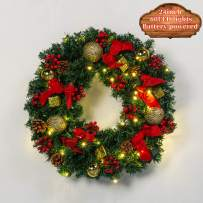 VinylBDS 【Battery Powered】 24 inch Christmas Wreath with LED Lights (Requires 3 AA Batteries) with Bow Red Berries Wreaths for Front Door Outside