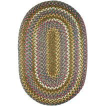 Super Area Rugs Gemstone Textured Braided Rug Indoor/Outdoor Rug Durable Green Kitchen Carpet, 2' X 3' Oval