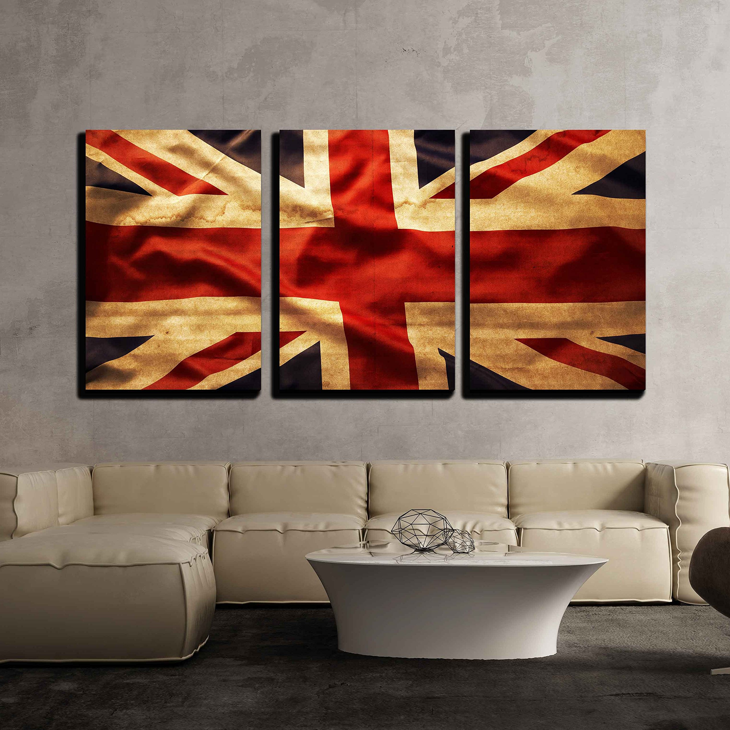 "wall26 3 Piece Canvas Wall Art - Closeup of Grunge Union Jack Flag - Modern Home Decor Stretched and Framed Ready to Hang - 16""x24""x3 Panels"
