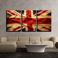 """wall26 3 Piece Canvas Wall Art - Closeup of Grunge Union Jack Flag - Modern Home Decor Stretched and Framed Ready to Hang - 16""""x24""""x3 Panels"""