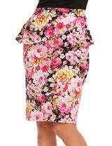 Zeagoo Women's High Waist Floral Print Midi Pencil Skirt