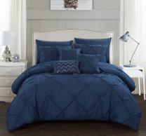 Chic Home Hannah 8 Piece Comforter Complete Bag Pinch Pleated Ruffled Pintuck Bedding with Sheet Set and Decorative Pillows Shams Included, Twin, Navy