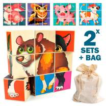 Quokka Wooden Toddler Puzzles Blocks for Kids Ages 3-5 and 4-8 Years, 18 Wood Jigsaw Puzzle Blocks for Toddlers Building and Matching Games, Preschool Learning Toys for Boys & Girls in a Storage Bag