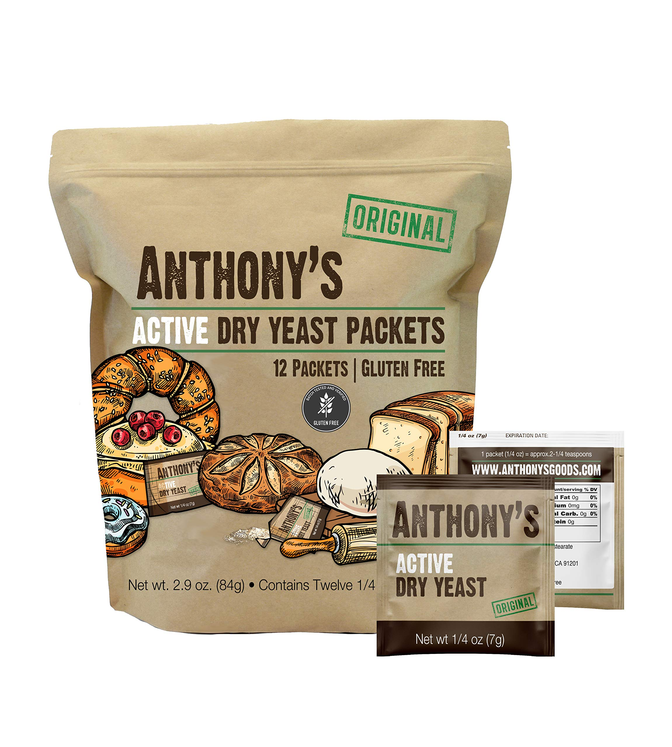 Anthony's Active Dry Yeast Packets, Contains 12 Individual Packets, Gluten Free