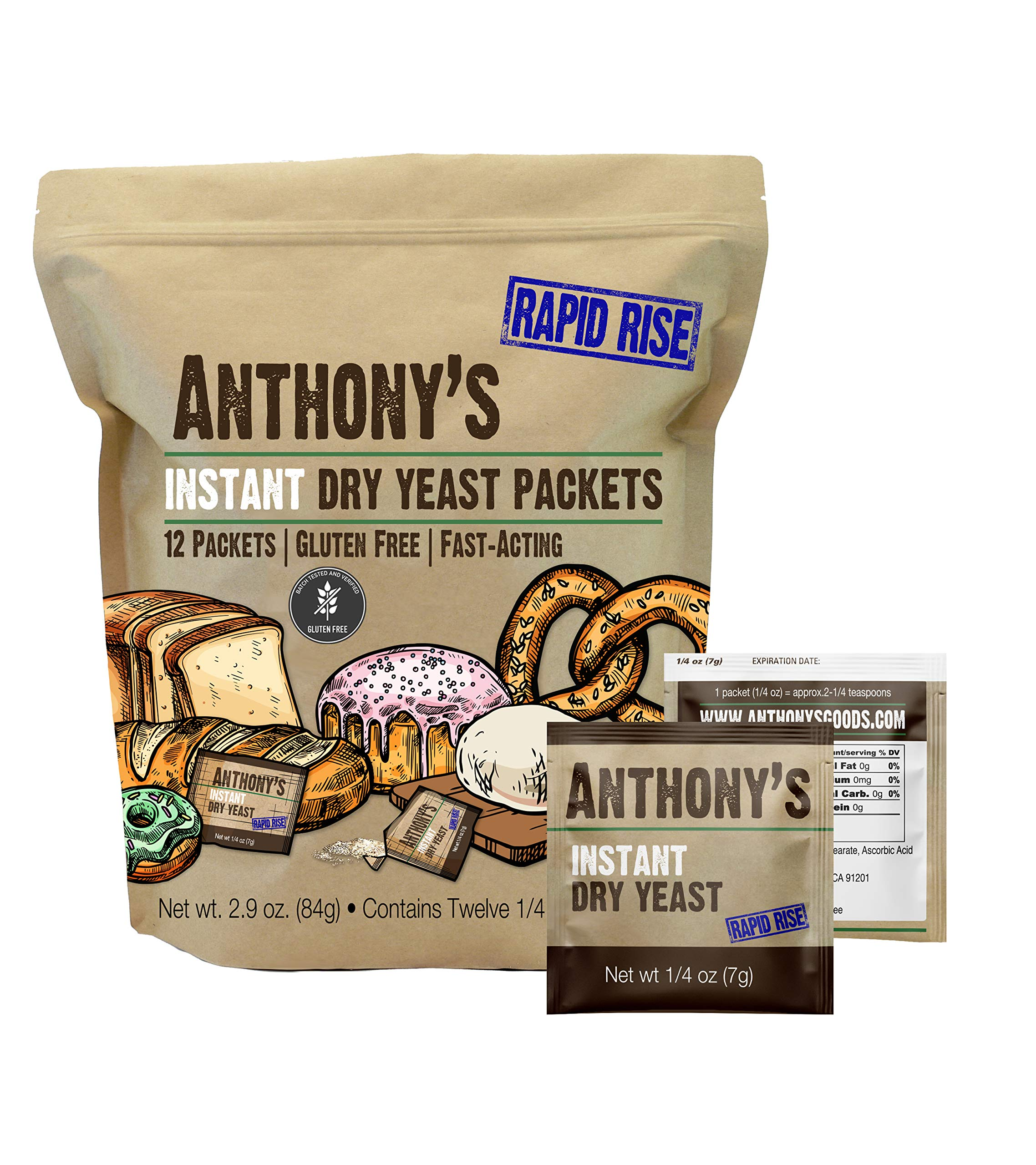 Anthony's Instant Dry Yeast Packets, Contains 12 Individual Packets, Gluten Free