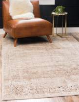Unique Loom Chateau Collection Distressed Vintage Traditional Textured Beige Area Rug (9' 0 x 12' 0)