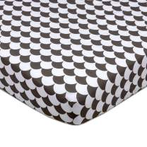 Lolli Living 100% Cotton Crib Fitted Sheet (Kayden Collection). Black and White Scallop Pattern Ultra-Soft Fitted Crib Sheet for Standard Cribs