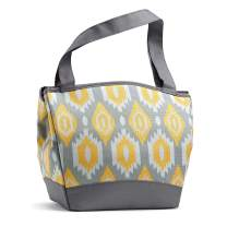 """Fit & Fresh Hyannis Insulated Lunch Women, Soft Cooler Bag with Ice Pack for Work and On-The-Go, Metallic Ikat Sketch, 11.5"""" x 6"""" x 10.5"""""""