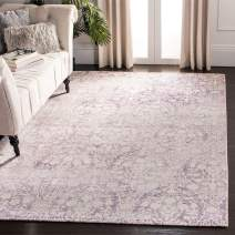 """Safavieh Passion Collection PAS403A Vintage Medallion Watercolor Lavender and Ivory Distressed Area Rug (4' x 5'7"""")"""