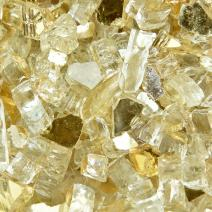 Gold Strike - Fire Glass for Indoor and Outdoor Fire Pits or Fireplaces | 10 Pounds | 1/4 Inch, Reflective