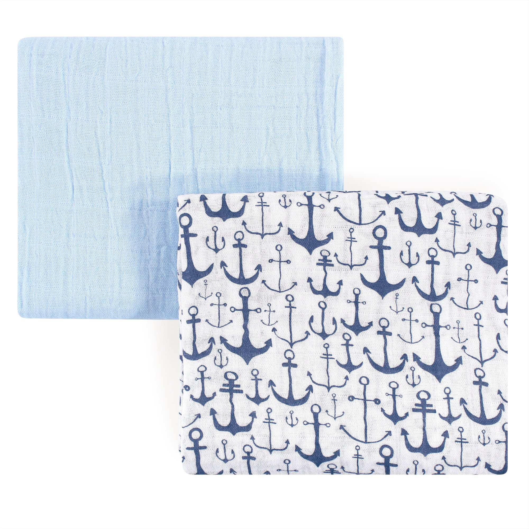 Yoga Sprout Unisex Baby Cotton Muslin Swaddle Blankets, Blue Anchor, One Size