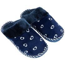 Cosmo Heart Cozy Soft Women's Bedroom Warm Indoor Slippers Slip-Ons (Blue)