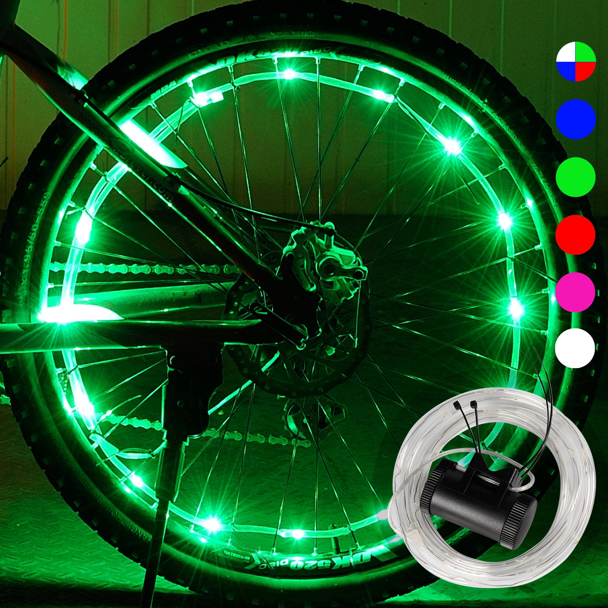 DAWAY A01+ Bike Wheel Light - Waterproof LED Bicycle Spoke Light, Cool Safety Bike Tire Accessories, Light Up Spokes, Super Bright, 2 Modes, with Battery, Gifts for Kids Boy Girl Adults, 1 Pack