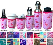 Koverz Neoprene 12 oz. Can/Bottle Coolie Insulator - Choose Your Style! - Pink Flamingos
