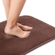 Kingole Absorbent Memory Foam Bath Mat, Non Slip and Cozy Microfiber Bathroom Floor Mat, Thick and Quick Drying (17 x 24 inches, Brown)