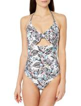 Splendid Women's Tie Front Key Hole One Piece Swimsuit