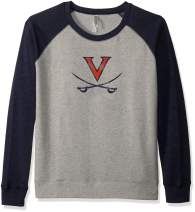Ouray Sportswear NCAA Virginia Cavaliers Women's Cozy Crew, Oatmeal Heather/Navy Heather, X-Large