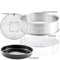 "NUWAVE Primo Extender Ring Kit; Cook up to 16 pound Turkey or 14 pound Ham for the Holidays; Contains 5"" Stainless Steel Extender Ring, Reversible 3"" Cooking Rack; 10"" Enamel Baking Pan; Stainless Steel Air Fry Basket"