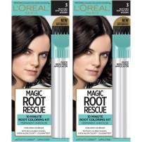 L'Oreal Paris Magic Root Rescue 10 Minute Root Hair Coloring Kit, Permanent Hair Color with Quick Precision Applicator, 100% Gray Coverage, 3 Soft Black, 2 count