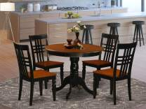 5 Pc Dining room set with a Table and 4 Dining Chairs in Black and Cherry