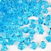 CYS EXCEL Acrylic Ice Rocks (500 Pieces & 9 Cup) for Vase Fillers, Multiple Colour Acrylic Gems for Table Scatters, Event, Wedding, Birthday Decoration (Acrylic Ice Light Blue, 3 Pounds)