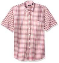Arrow Men's Big and Tall Hamilton Poplins Short Sleeve Button Down Plaid Shirt