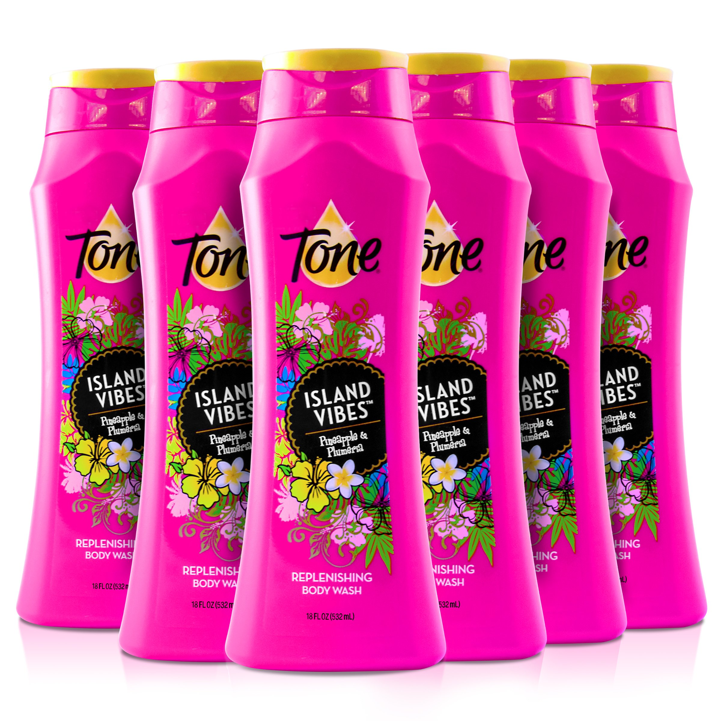 Tone Body Wash, Island Vibes, 18 Ounce (Pack of 6)