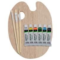 US Art Supply® Wood Palette with 6-Piece Acrylic Paint Set & 3-Piece Brush Set