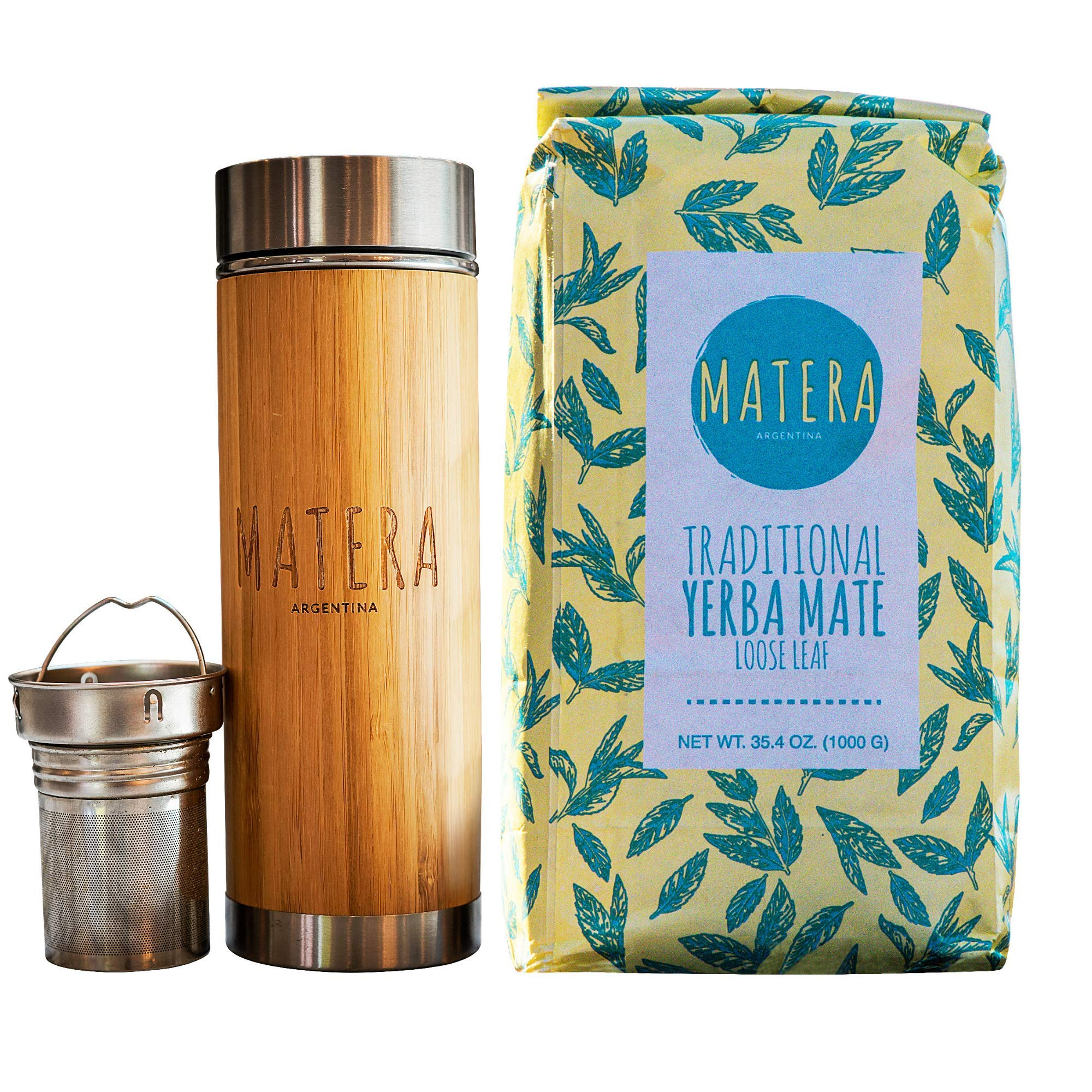Matera Yerba Mate, Direct Trade, Starter Kit, Thermo w/infuser and Argentinian Traditional loose leaf Yerba Mate, 2.2 lbs