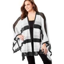 Roamans Women's Plus Size Metallic Poncho Cardigan