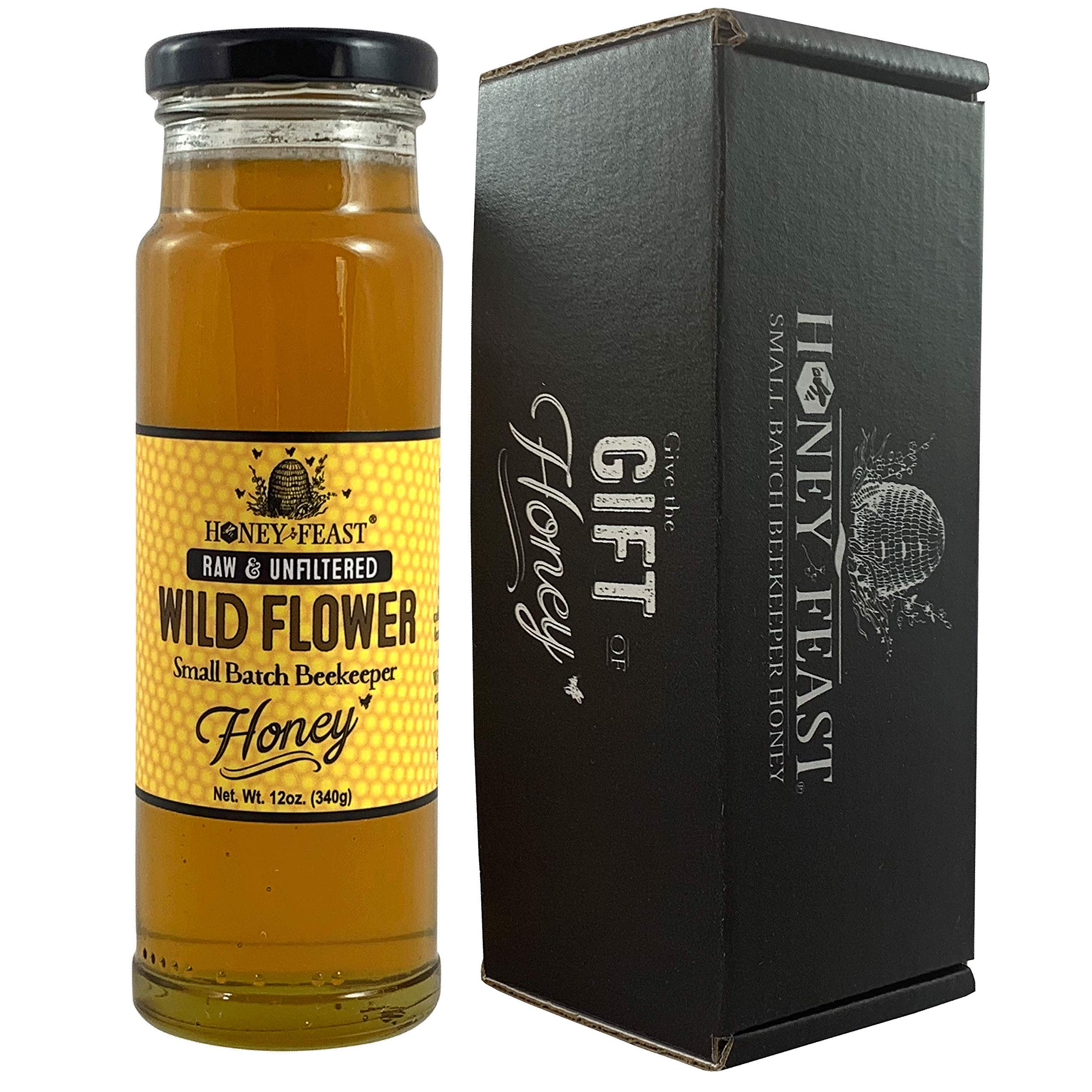 Honey Feast - Raw Wildflower Honey | from American Organic floral sources | 12 ounces | Unfiltered & Pure Florida Superfood | Local honey to Orlando, Miami, Jacksonville, Tampa, Fort Myers, Naples