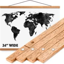 """Magnetic Poster Hanger Frame 24"""" - Premium Quality Wood, Extra Strong Magnets, Quick & Easy Setup, Full Hanging Kit for Wall Art/Prints/Canvas/Photos/Pictures/Artwork/Scratch Map (24x18 24x32 24x36)"""