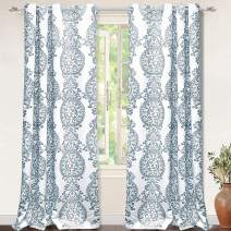 DriftAway Samantha Thermal Room Darkening Grommet Unlined Window Curtains Floral Damask Medallion Pattern 2 Panels 52 Inch 96 Inch Blue