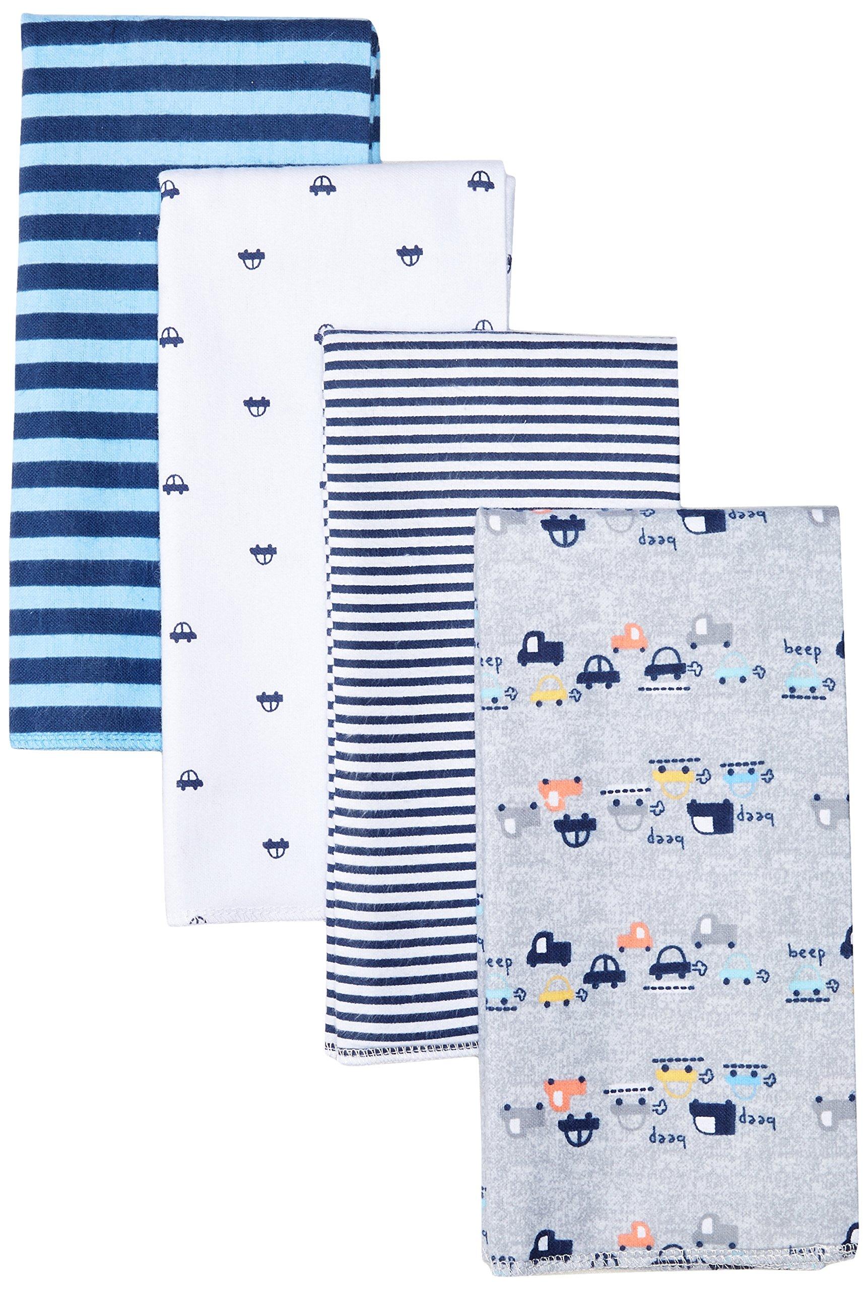 "Gerber Baby Boys' 4-Pack Flannel Burp Cloth, Little Cars, 20"" x 14"""